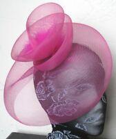 hot pink feather fascinator millinery burlesque headband wedding hat hair piece