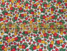 lightweight cotton fabric Vtg 60s Kitchen PEPPERS Strawberry Cherry half yard