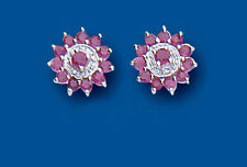 Unique Wishlist Sterling Silver Ruby & Diamond Cluster Studs BP0146