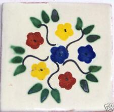C016) 9 PCS Talavera Tiles 4x4 Ceramic Mexican Folk Art