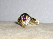 SOLID     14K  Gold   RUBY    Diamond   Fashion  Ring
