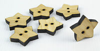 6pcs Large Wooden Buttons 30mm/Star Shape/Laser Cut/Beads/Sewing/Crafts