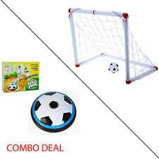 Indoor Outdoor Mini Soccer Football Goal Post Net & Hover Soccer Combo Deal