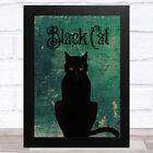 Black Cat On Green Background Home Wall Art Print