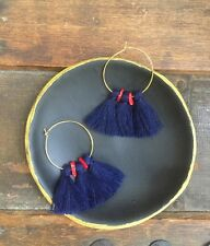Anthropologie Deep Blue Tassels Red Coral Beads Gold Hoop Fringe Boho Earrings