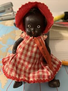 """Vintage  China. 9"""" Black Baby Jointed Doll Braid Ponytails Outfit"""