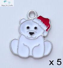 5 x Enamel Polar Bear Charms Pendants Winter Christmas Xmas 24mm Silver (EC5)