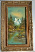 "Vintage Landscape Mountain Cabin Lake Painting Signed G WhiTman Framed 25""x40"""