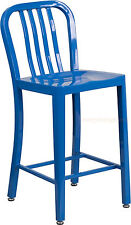 MID-CENTURY BLUE 'NAVY' STYLE COUNTER STOOL CAFE PATIO CHAIR OUTDOOR COMMERCIAL