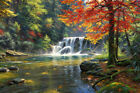 Forest waterfall scenery Giclee Art Oil painting printed on canvas L2987