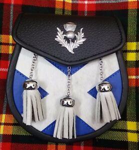 Scottish Half Dress Kilt Sporran Black Leather Saltier Thistle Crest Badge Chain