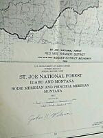 St. Joe National Forest Service Idaho & Montana Maps Lot of two 1968 & 1977