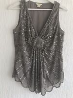 SILVER BEADED TOP 10 MONSOON GREY SEQUIN PARTY SUMMER TOWIE MARBELLA CELEB