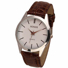 Ladies Fashion Silver HONHX Quartz White Face Brown Band Wrist Watch.(Aussie)