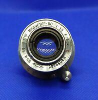 "Vintage Soviet lens Industar-50 1:3.5 5cm Red ""P"" Fed Zorki Leica M39 8089668"