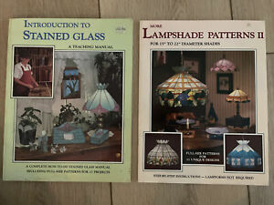 2 WARDELL PUBLICATIONS STAINED GLASS PATTERN/DESIGN BOOKS Lamp Shades Etc