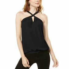 INC NEW Women's Keyhole Halter Mixed Media Tank Shirt Top TEDO