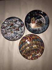 McDonald'S Franklin Mint Set Of 3 - Collectible 8� Plates - Porcelain- Gold Trim