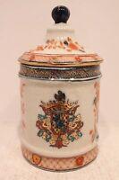 Unique Cute Imari Porcelain Brush Jar with European Emblem Gold Gild