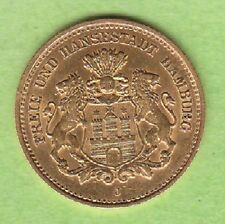 GOLD Hamburg 5 Mark 1877 almost xf rare leipzig