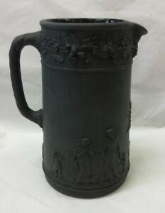 Beautiful Antique / Vintage Wedgwood Black Basalt Etruscan Jasperware Tall Jug