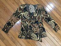 Susan Lawrence Women's V-Neck Paisley Embellished Sequins Top Blouse Size S