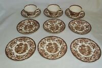 Royal Staffordshire England Clarice Cliff Tonquin Brn. 3 Cups 6 Saucers 2 Plates