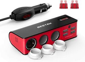 BESTEK 3-Socket 200W 12V/24V DC Cigarette Lighter Power Adapter 6A 4-Port (RED)