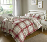 Luxury Check Red Duvet Cover Sets with Pillow Case Single Double King Size