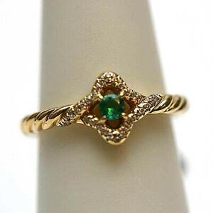 DAVID YURMAN NEW 18K Yellow Gold & Emerald 5mm Venetian Quatrefoil Ring 6