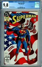 SUPERMAN 53 CGC 9.8 WP 2nd Series RARE FewCensus FLAG COVER NEW CGC CASE DC 1991