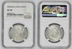 INDIA-BRITISH Victoria Queen 1840 Silver Rupee S&W-3.33 NGC Graded AU 58