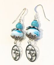 Om Dangly Turquoise Earrings Sterling Silver Long Drop Yoga Spiritual Meditation