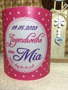 4 x Tischlicht Jugendweihe Pink Tischdeko Windlicht Deko Set mit Namen & Datum