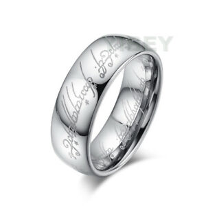 Tungsten The One Ring LORT Silver Lord of the Rings Bilbo's Hobbit Laser Pattern