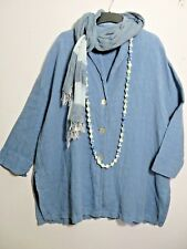 OSKA SIZE 2, OVERSIZED, UP TO 22 UK, Blue 100% Linen COAT, LOOSE FIT LAGENLOOK