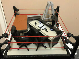 WWE Mattel Wrestling Accessories Bundle- Ring, Commentator Table/chairs, Ladder