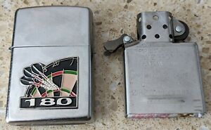 Original Zippo Brushed Steel Lighter - Customised for a Darts theme - used