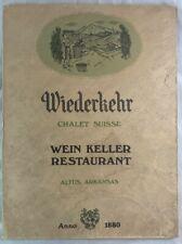 Antique Menu Wiederkehr Wine Cellar & Weinkeller Restaurant Altus Arkansas
