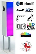 Large Bluetooth Phone & Tablet 2.1 Tower Speaker W/ Disco Party Lights - White