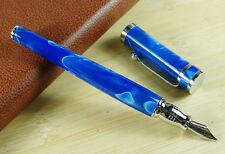 Fuliwen Blue Celluloid Fountain Pen , Luxury Fine Nib Writing Pen