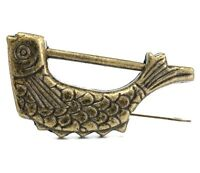 Retro Vintage Brass Chinese Old Style Fish Lock & Key Antique Collectible Gift