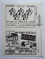 PiL (sex pistols)/Social D / SAMHAIN/NECROS/JFA/C2D Original Concert Flyer 1984