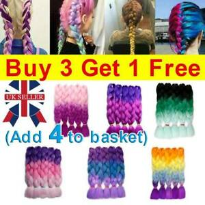 """24"""" Braiding Ombre Rainbow Jumbo Braids Hair Extensions Synthetic Any Color UK"""