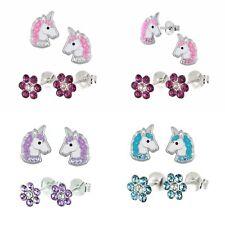 2 x Kinderohrringe Einhorn + Blume 925 Silber Ohrstecker Mädchen Pferd Set