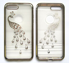 Peacock Bling Crystal Diamond TPU Soft Slim Bumper Gel Case Cover For iPhone