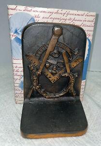Masonic Bookends Cast Iron With Bronze Finish