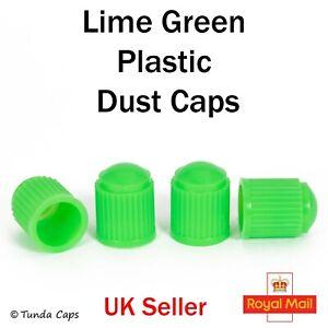 4x Lime Green plastic valve Tyre Dust Caps Car Van Bikes BMX Motorbike Wheel