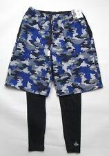 Men's Puma x 1 FCH 2in 1 shorts + leggins combo sz M black purple camo printed