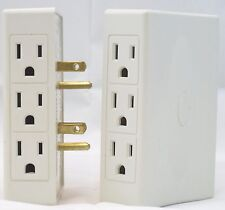 Multi Plug Outlet with 6 Side Outlets - Side Socket Wall Outlet (Set of 2) White